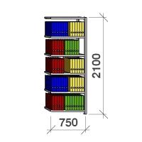 Arkivhylla följesektion 2100x750x300 200kg/hyllplan,6 hyllor