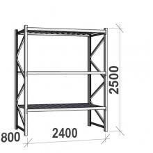Lagerhylla startsektion 2500x2400x800 300kg/hyllplan,3 hyllor