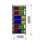 Arkivhylla startsektion 2500x1000x400 150kg/hyllplan,7 hyllor