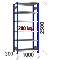 Lagerhylla startsektion 2500x1000x300 200kg/hyllplan,6 hyllor, blå/galv