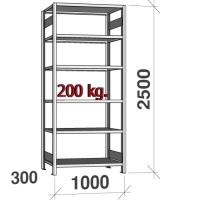 Lagerhylla startsektion 2500x1000x300 200kg/hyllplan,6 hyllor