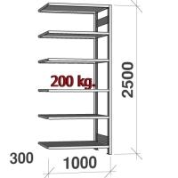 Lagerhylla följesektion 2500x1000x300 200kg/hyllplan,6 hyllor