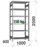 Lagerhylla startsektion 2500x1000x400 150kg/hyllplan,6 hyllor
