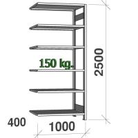 Lagerhylla följesektion 2500x1000x400 150kg/hyllplan,6 hyllor
