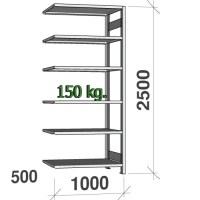 Lagerhylla följesektion 2500x1000x500 150kg/hyllplan,6 hyllor