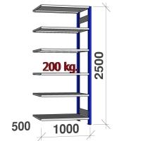 Lagerhylla följesektion 2500x1000x500 200kg/hyllplan,6 hyllor, blå/galv