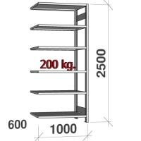 Lagerhylla följesektion 2500x1000x600 200kg/hyllplan,6 hyllor