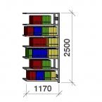 Arkivhylla följesektion 2500x1170x400 150kg/hyllplan,7 hyllor