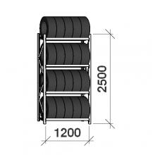 Däckställ startsektion 2500x1200x500, 4 hyllplan,600kg/plan