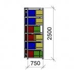 Arkivhylla startsektion 2500x750x400 200kg/hyllplan,7 hyllor