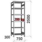Lagerhylla startsektion 2500x750x300 200kg/hyllplan,6 hyllor