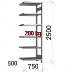 Lagerhylla följesektion 2500x750x500 200kg/hyllplan,6 hyllor