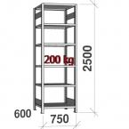 Lagerhylla startsektion 2500x750x600 200kg/hyllplan,6 hyllor