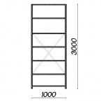 Lagerhylla startsektion 3000x1000x300 200kg/hyllplan,7 hyllor