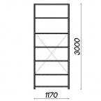 Lagerhylla startsektion 3000x1170x500 150kg/hyllplan,7 hyllor