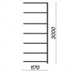 Lagerhylla följesektion 3000x1170x600 150kg/hyllplan,7 hyllor