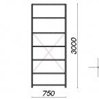 Lagerhylla startsektion 3000x750x800 200kg/hyllplan,7 hyllor