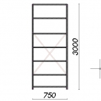 Lagerhylla startsektion 3000x750x500 200kg/hyllplan,7 hyllor
