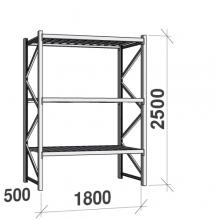 Lagerhylla startsektion 2500x1800x500 480kg/hyllplan,3 hyllor