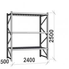 Lagerhylla startsektion 2500x2400x500 300kg/hyllplan,3 hyllor