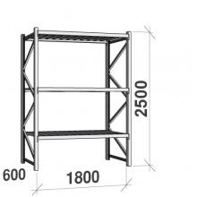 Lagerhylla startsektion 2500x1800x600 480kg/hyllplan,3 hyllor
