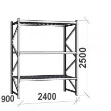 Lagerhylla startsektion 2500x2400x900 300kg/hyllplan,3 hyllor