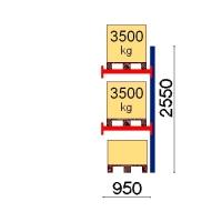 Pallställ följesektion 2550x950 3500kg/3 pallar