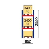 Pallställ startsektion 2550x1150 3400kg/3 pallar