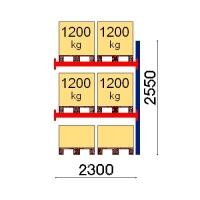 Pallställ följesektion 2550x2300 1200kg/6 pallar