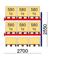 Pallställ följesektion 2550x2700 580kg/9 pallar