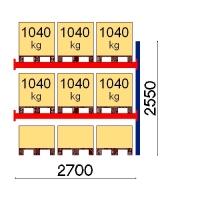 Pallställ följesektion 2550x2700 1041kg/9 pallar