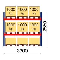 Pallställ startsektion 2550x3300 1000kg/9 pallar