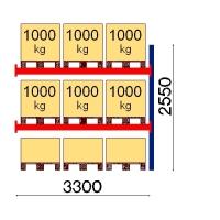 Pallställ följesektion 2550x3300 1000kg/9 pallar