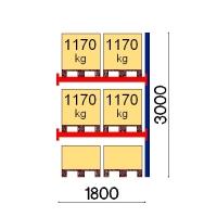 Pallställ följesektion 3000x1800 1170kg/6 pallar