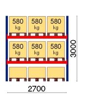 Pallställ startsektion 3000x2700 580kg/9 pallar