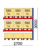 Pallställ följesektion 3000x2700 580kg/9 pallar