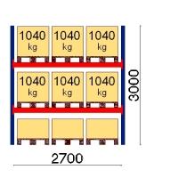 Pallställ startsektion 3000x2700 1041kg/9 pallar