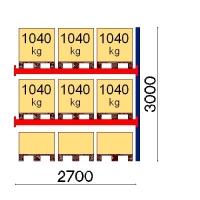 Pallställ följesektion 3000x2700 1041kg/9 pallar