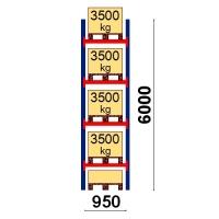 Pallställ startsektion 6000x950 3500kg/5 pallar