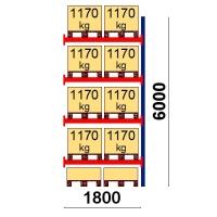 Pallställ följesektion 6000x1800 1170kg/10 pallar