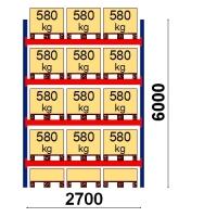 Pallställ startsektion 6000x2700 580kg/15 pallar
