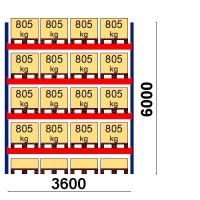 Pallställ startsektion 6000x3600 805kg/20 pallar