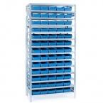 Backhylla 2100X1000X300 mm, 65 plastlådor 300x180x95 mm