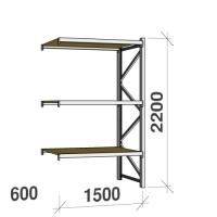 Lagerhylla följesektion 2200x1500x600 600kg/hyllplan 3 hyllor, spånskiva