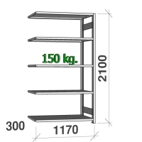 Lagerhylla följesektion 2100x1170x300 150kg/hyllplan,5 hyllor