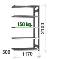 Lagerhylla följesektion 2100x1170x500 150kg/hyllplan,5 hyllor