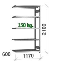 Lagerhylla följesektion 2100x1170x600 150kg/hyllplan,5 hyllor