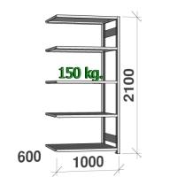 Extension bay 2100x1000x600 150kg/shelf,5 shelves