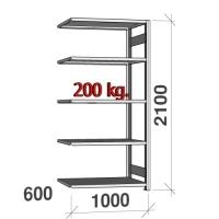 Extension bay 2100x1000x600 200kg/shelf,5 shelves