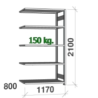 Lagerhylla följesektion 2100x1170x800 150kg/hyllplan,5 hyllor